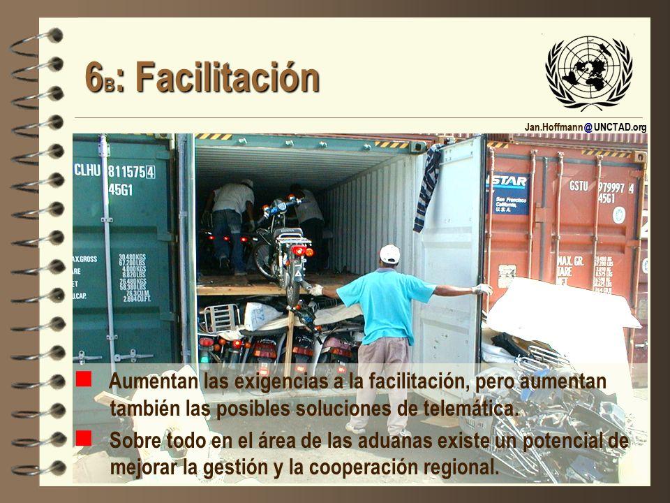 Jan.Hoffmann @ UNCTAD.org 6 B : Facilitación 6 B : Facilitación Aumentan las exigencias a la facilitación, pero aumentan también las posibles solucion