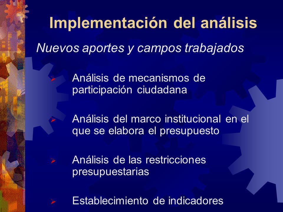 Implementación del análisis Nuevos aportes y campos trabajados Análisis de mecanismos de participación ciudadana Análisis del marco institucional en el que se elabora el presupuesto Análisis de las restricciones presupuestarias Establecimiento de indicadores