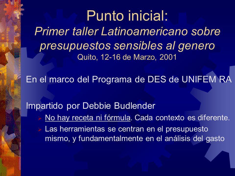 Punto inicial: Primer taller Latinoamericano sobre presupuestos sensibles al genero Quito, 12-16 de Marzo, 2001 En el marco del Programa de DES de UNIFEM RA Impartido por Debbie Budlender No hay receta ni fórmula.