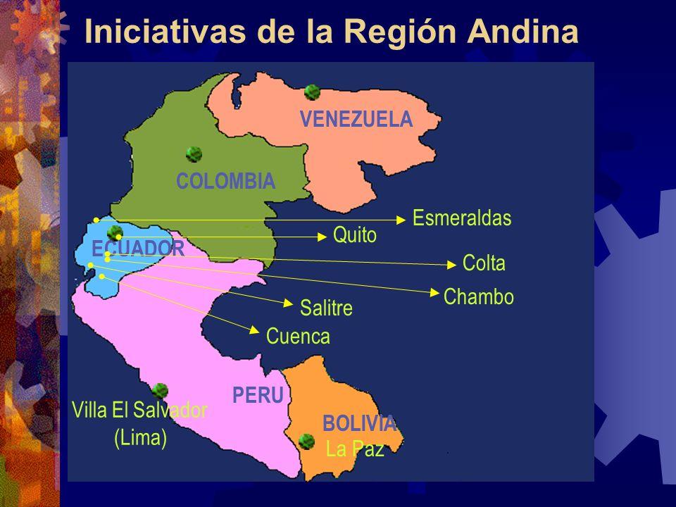 Iniciativas de la Región Andina PERU BOLIVIA COLOMBIA VENEZUELA ECUADOR Esmeraldas Quito Colta Chambo Cuenca Salitre Villa El Salvador (Lima) La Paz