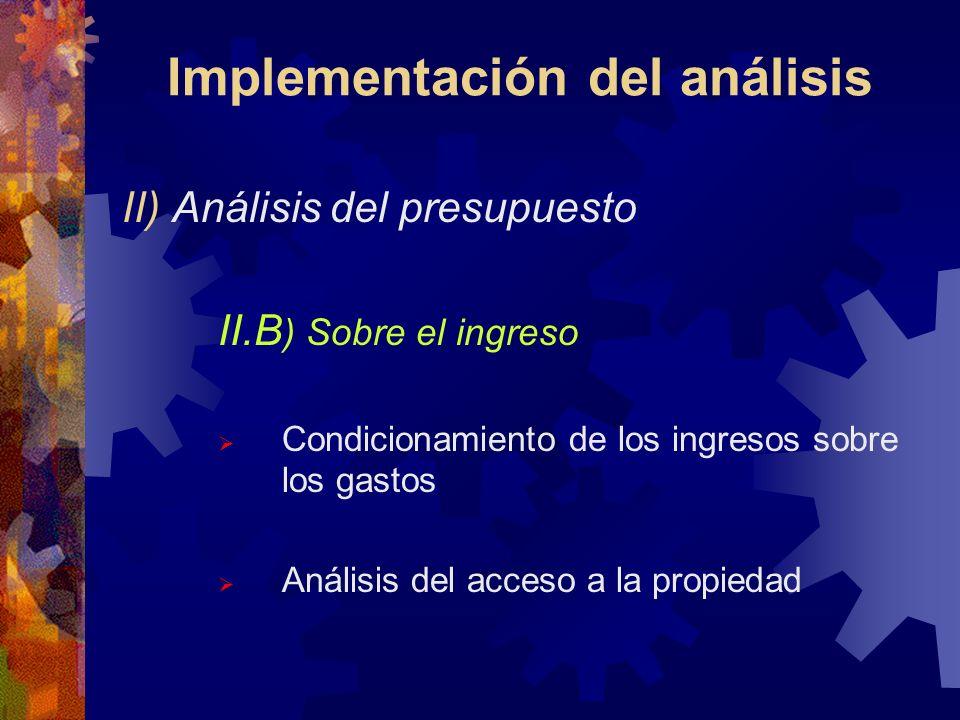 Implementación del análisis II) Análisis del presupuesto II.B ) Sobre el ingreso Condicionamiento de los ingresos sobre los gastos Análisis del acceso a la propiedad