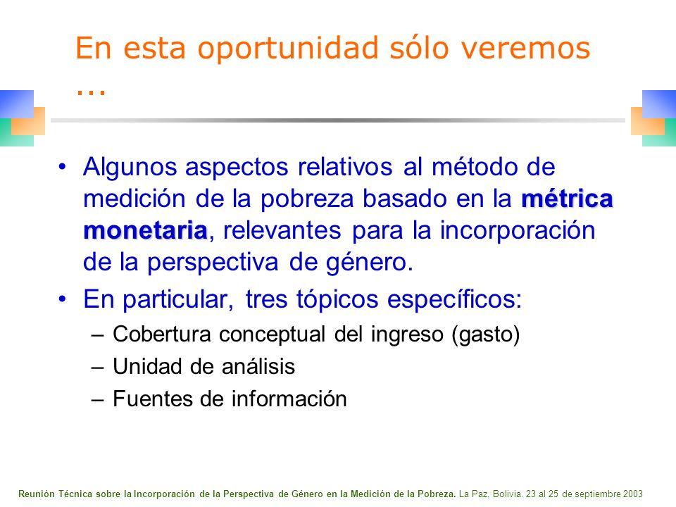 Reunión Técnica sobre la Incorporación de la Perspectiva de Género en la Medición de la Pobreza.