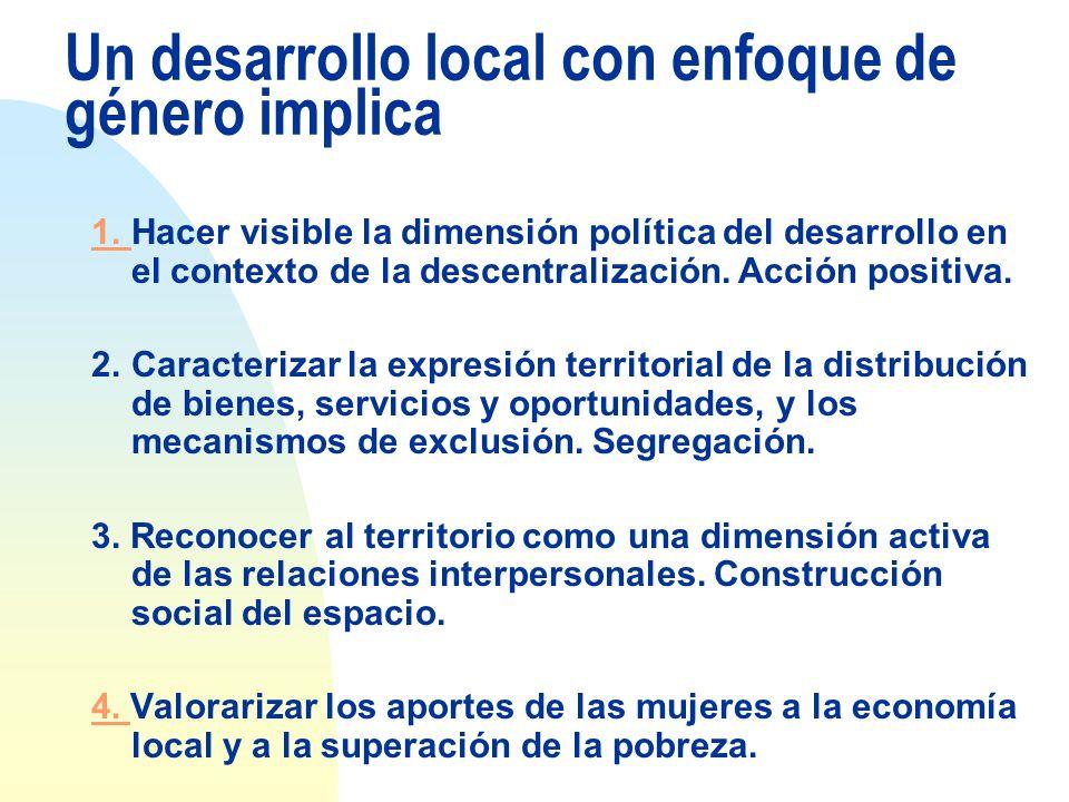 Un desarrollo local con enfoque de género implica 1. 1. Hacer visible la dimensión política del desarrollo en el contexto de la descentralización. Acc
