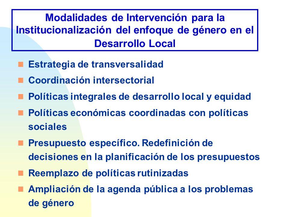 Modalidades de Intervención para la Institucionalización del enfoque de género en el Desarrollo Local n Estrategia de transversalidad n Coordinación i