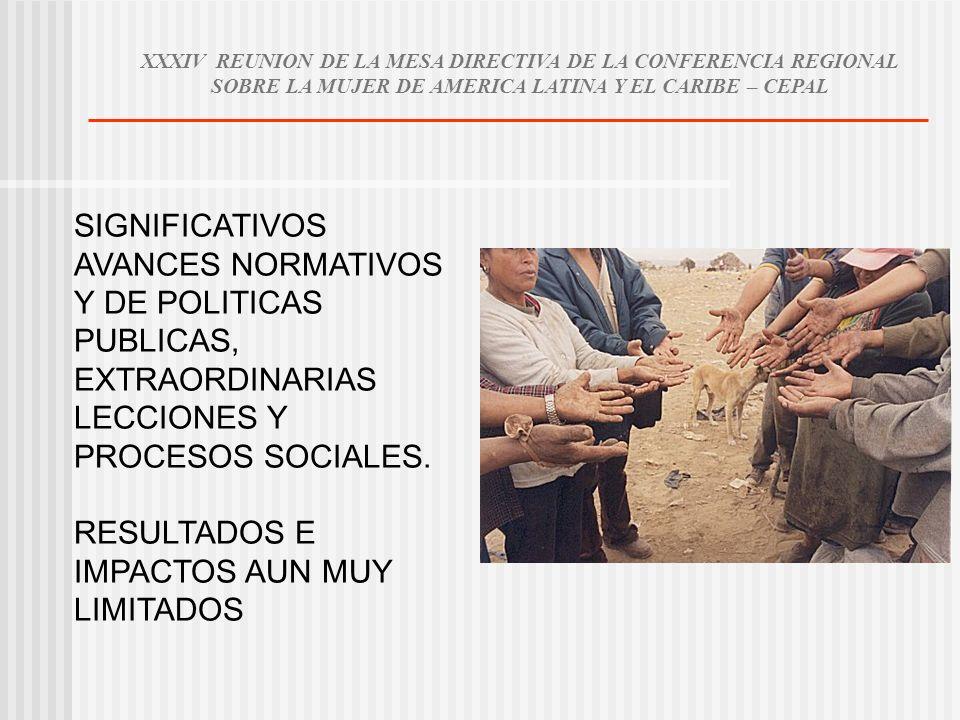 SIGNIFICATIVOS AVANCES NORMATIVOS Y DE POLITICAS PUBLICAS, EXTRAORDINARIAS LECCIONES Y PROCESOS SOCIALES. RESULTADOS E IMPACTOS AUN MUY LIMITADOS XXXI
