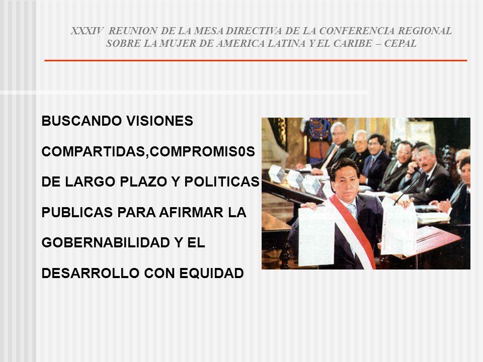 BUSCANDO VISIONES COMPARTIDAS,COMPROMIS0S DE LARGO PLAZO Y POLITICAS PUBLICAS PARA AFIRMAR LA GOBERNABILIDAD Y EL DESARROLLO CON EQUIDAD XXXIV REUNION DE LA MESA DIRECTIVA DE LA CONFERENCIA REGIONAL SOBRE LA MUJER DE AMERICA LATINA Y EL CARIBE – CEPAL