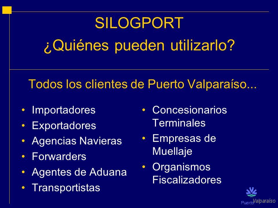 SILOGPORT ¿Quiénes pueden utilizarlo? Importadores Exportadores Agencias Navieras Forwarders Agentes de Aduana Transportistas Concesionarios Terminale