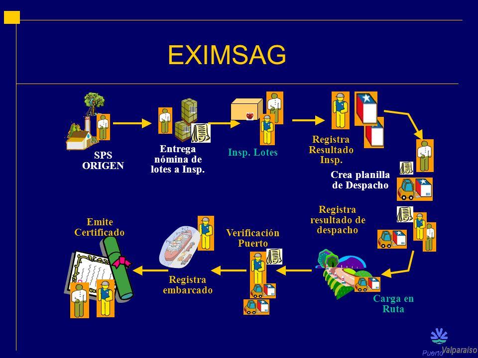 EXIMSAG SPS ORIGEN Entrega nómina de lotes a Insp. Registra Resultado Insp. Insp. Lotes Registra resultado de despacho Verificación Puerto Carga en Ru