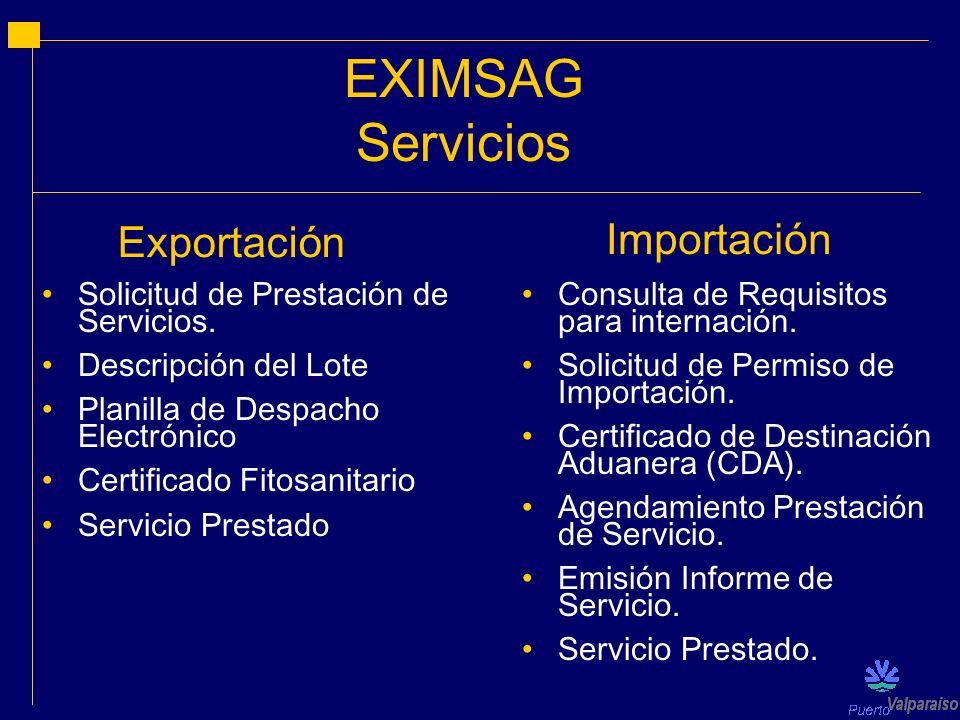 EXIMSAG Servicios Solicitud de Prestación de Servicios. Descripción del Lote Planilla de Despacho Electrónico Certificado Fitosanitario Servicio Prest