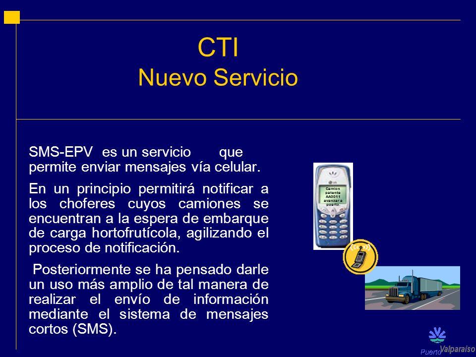CTI Nuevo Servicio SMS-EPV es un servicioque permite enviar mensajes vía celular. En un principio permitirá notificar a los choferes cuyos camiones se