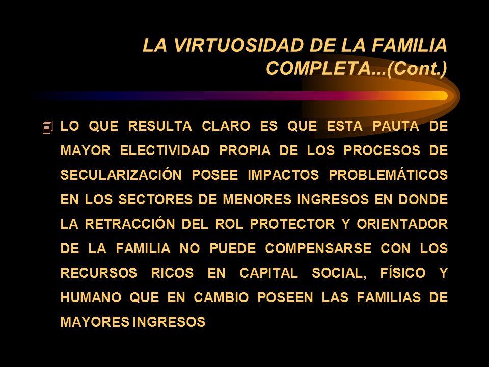 LA VIRTUOSIDAD DE LA FAMILIA COMPLETA... è MODELO DE ESTABLECIMIENTO DE VÍNCULOS ENTRE GÉNERO Y POBREZA: 4 CIERTAMENTE LA AMPLIACIÓN DEL DIVORCIO Y LA