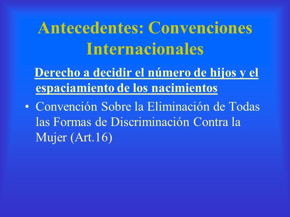Antecedentes: Convenciones Internacionales Derecho a decidir el número de hijos y el espaciamiento de los nacimientos Convención Sobre la Eliminación