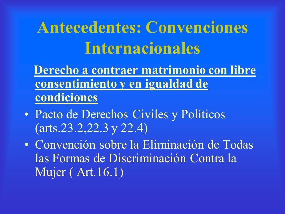 Antecedentes: Convenciones Internacionales Derecho a contraer matrimonio con libre consentimiento y en igualdad de condiciones Pacto de Derechos Civil