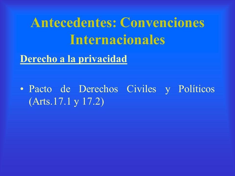 Antecedentes: Convenciones Internacionales Derecho a la privacidad Pacto de Derechos Civiles y Políticos (Arts.17.1 y 17.2)