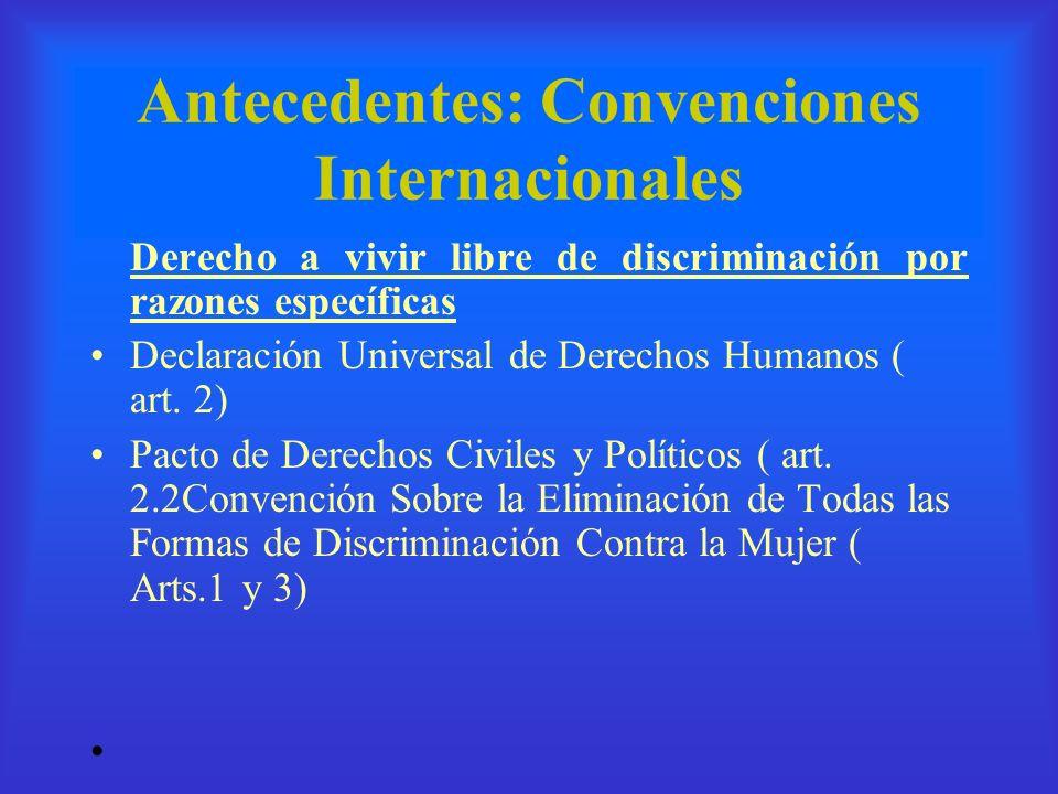 Antecedentes: Convenciones Internacionales Derecho a vivir libre de discriminación por razones específicas Declaración Universal de Derechos Humanos (