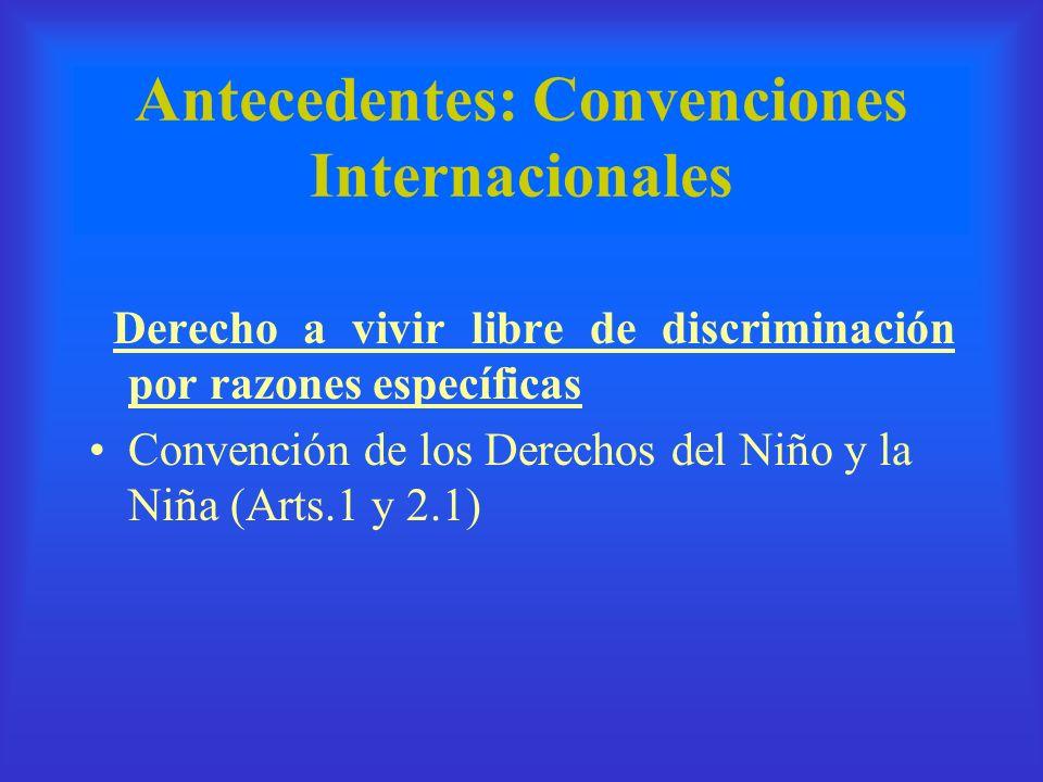Antecedentes: Convenciones Internacionales Derecho a vivir libre de discriminación por razones específicas Convención de los Derechos del Niño y la Ni