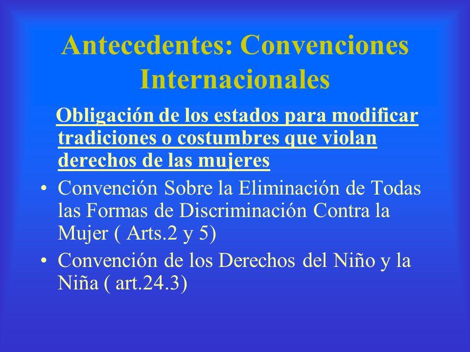 Antecedentes: Convenciones Internacionales Obligación de los estados para modificar tradiciones o costumbres que violan derechos de las mujeres Conven