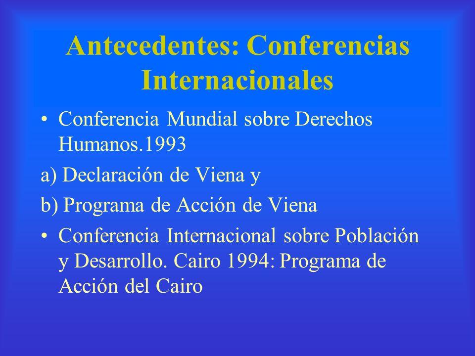 Antecedentes: Conferencias Internacionales Conferencia Mundial sobre Derechos Humanos.1993 a) Declaración de Viena y b) Programa de Acción de Viena Co