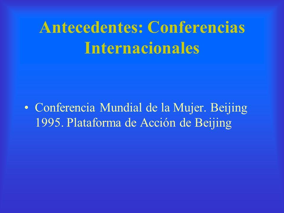 Antecedentes: Conferencias Internacionales Conferencia Mundial de la Mujer. Beijing 1995. Plataforma de Acción de Beijing