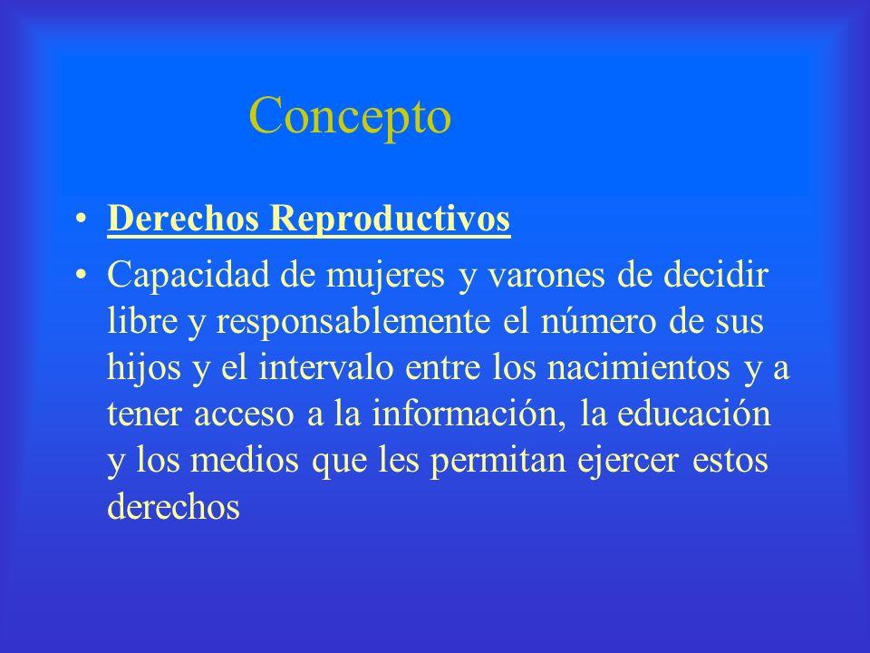 Concepto Derechos Reproductivos Capacidad de mujeres y varones de decidir libre y responsablemente el número de sus hijos y el intervalo entre los nac