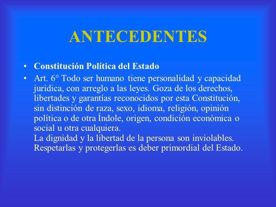 ANTECEDENTES Constitución Política del Estado Artículo 7.- Toda persona tiene los siguientes derechos fundamentales, conforme a las leyes que reglamenten su ejercicio: a) A la vida, la salud y la seguridad;