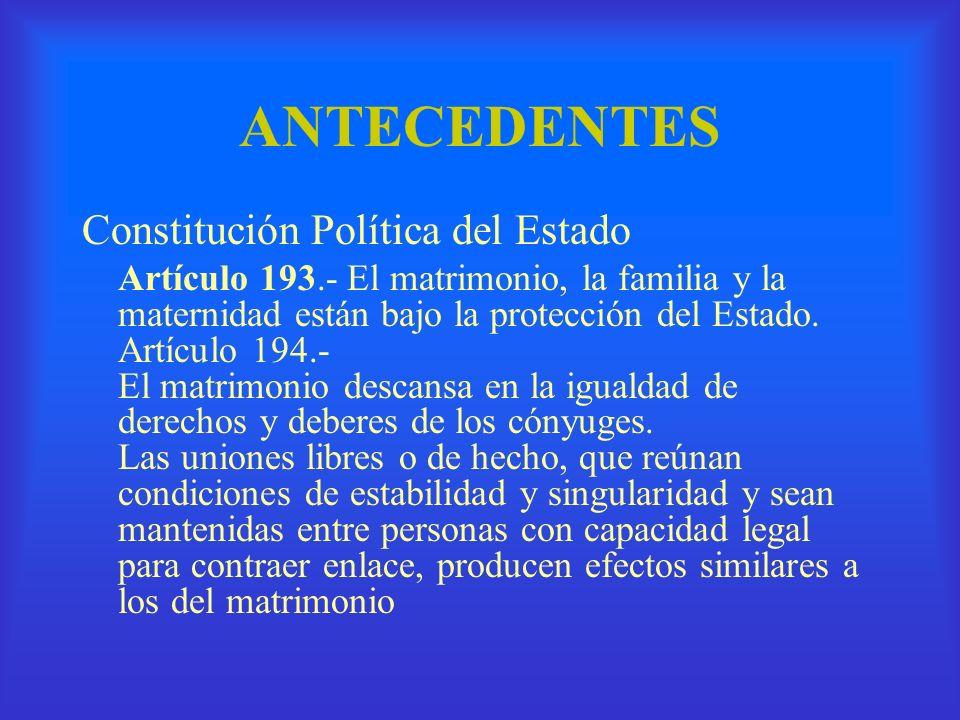 ANTECEDENTES Constitución Política del Estado Artículo 193.- El matrimonio, la familia y la maternidad están bajo la protección del Estado. Artículo 1