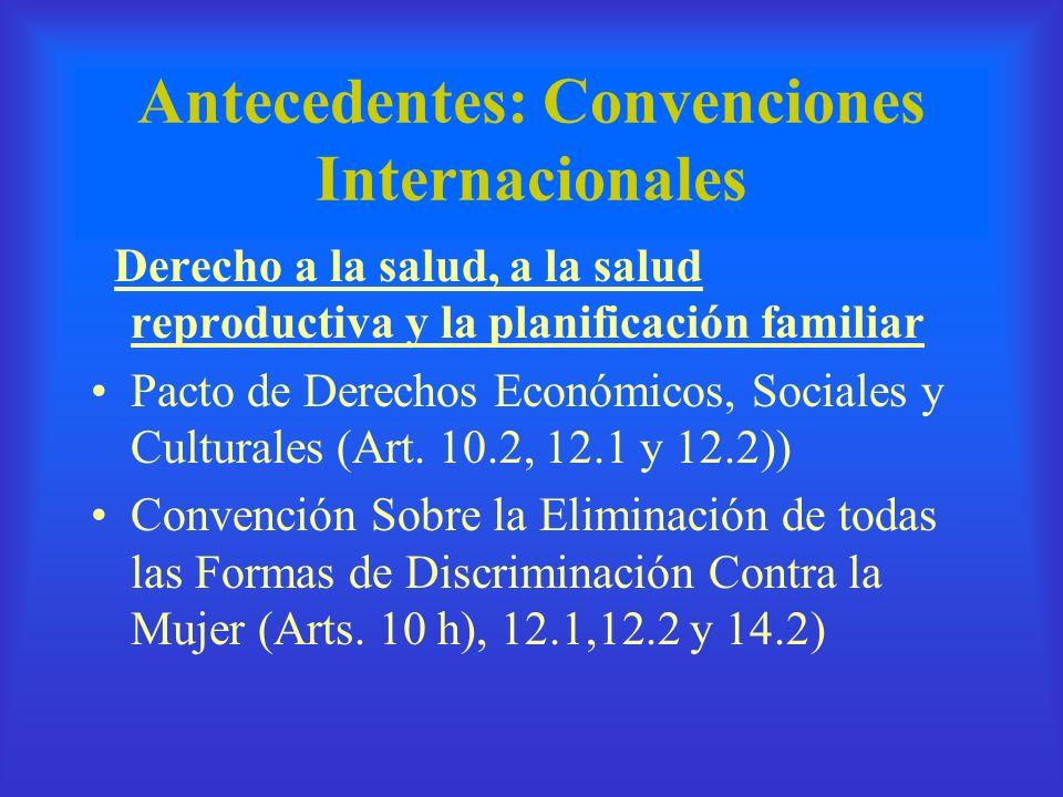 Antecedentes: Convenciones Internacionales Derecho a la salud, a la salud reproductiva y la planificación familiar Pacto de Derechos Económicos, Socia
