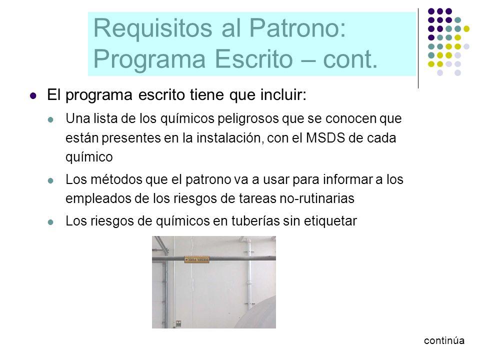 Requisitos al Patrono: Programa Escrito – cont. El programa escrito tiene que incluir: Una lista de los químicos peligrosos que se conocen que están p