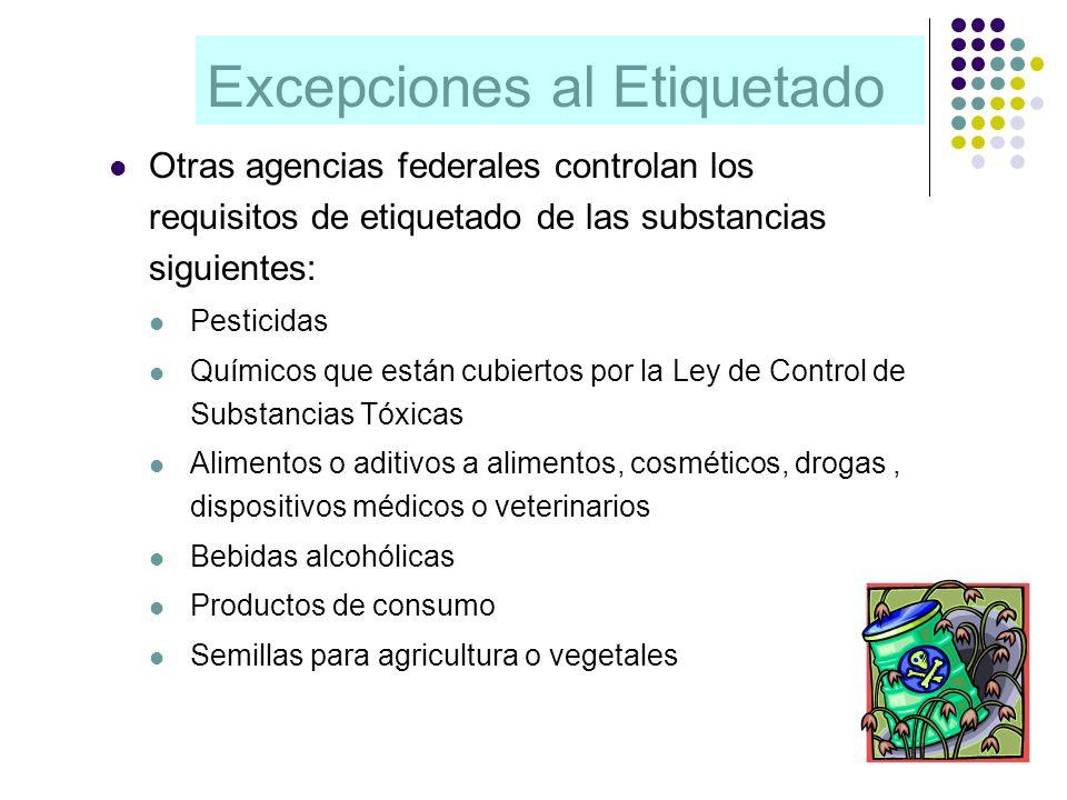 Excepciones al Etiquetado Otras agencias federales controlan los requisitos de etiquetado de las substancias siguientes: Pesticidas Químicos que están