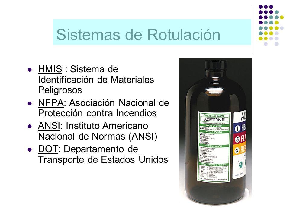 Sistemas de Rotulación HMIS : Sistema de Identificación de Materiales Peligrosos NFPA: Asociación Nacional de Protección contra Incendios ANSI: Instit