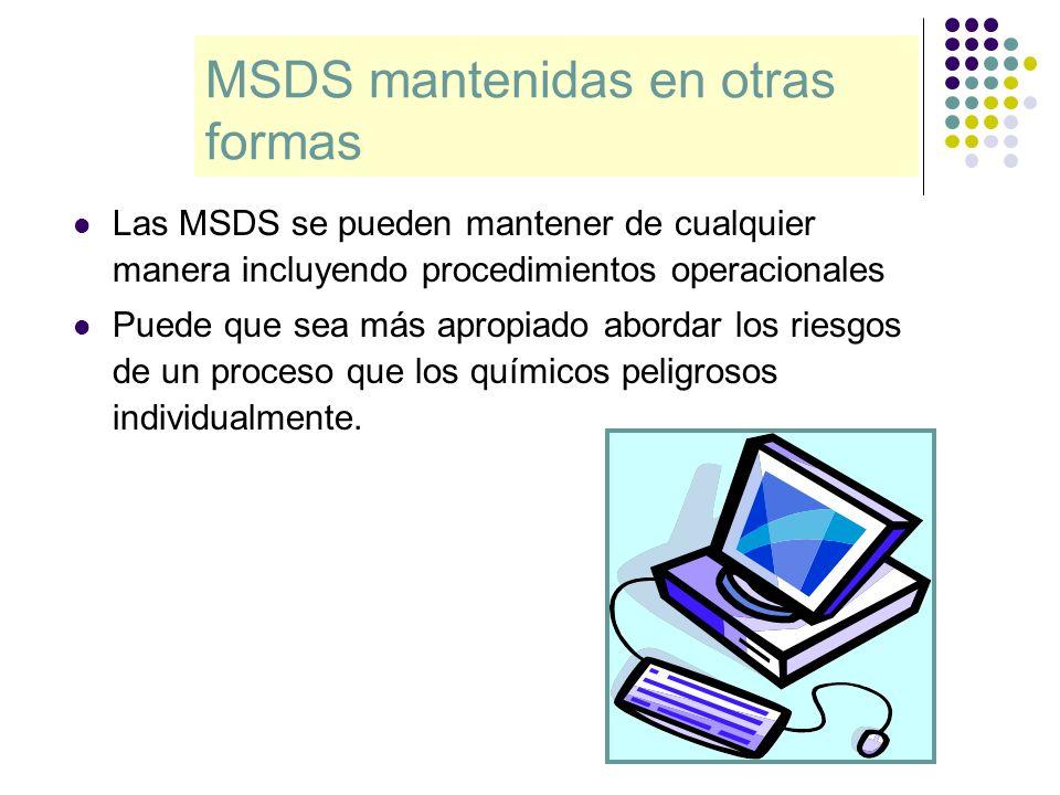 MSDS mantenidas en otras formas Las MSDS se pueden mantener de cualquier manera incluyendo procedimientos operacionales Puede que sea más apropiado ab