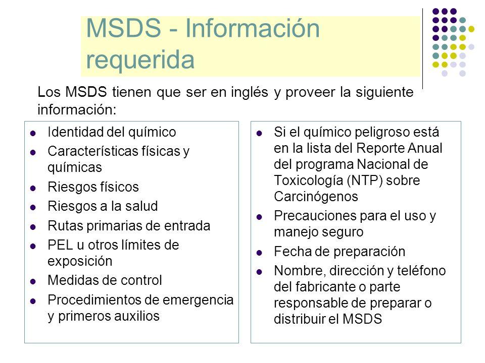 MSDS - Información requerida Identidad del químico Características físicas y químicas Riesgos físicos Riesgos a la salud Rutas primarias de entrada PE