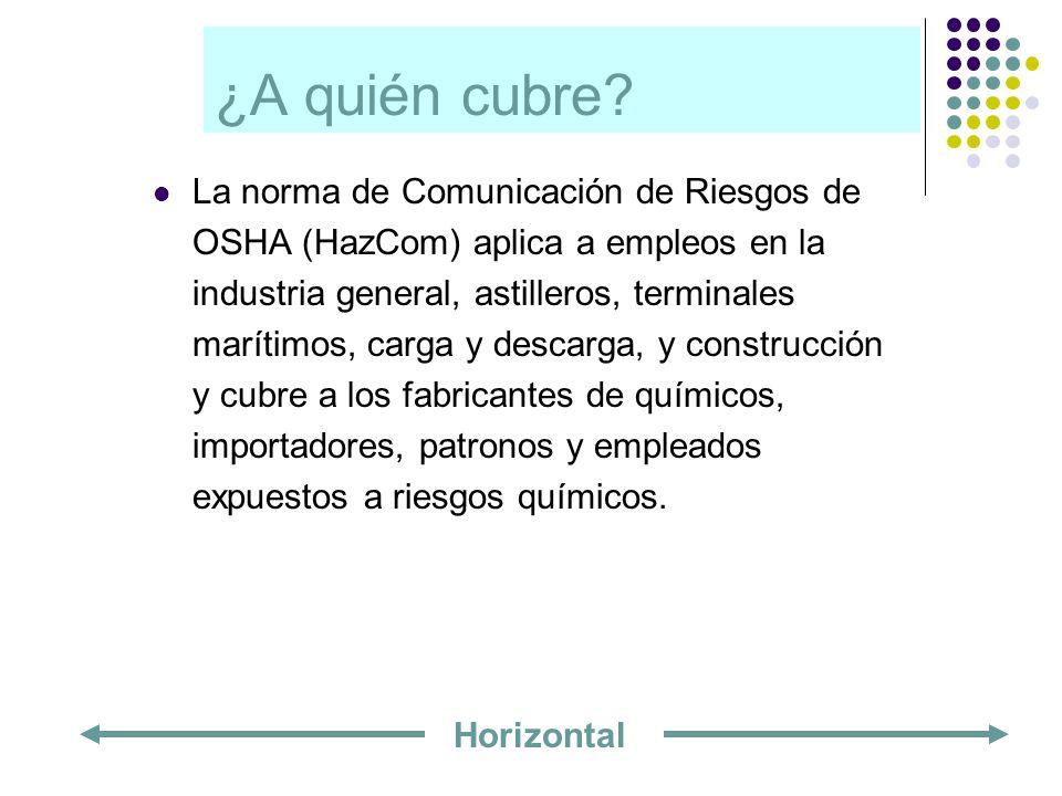 ¿A quién cubre? La norma de Comunicación de Riesgos de OSHA (HazCom) aplica a empleos en la industria general, astilleros, terminales marítimos, carga