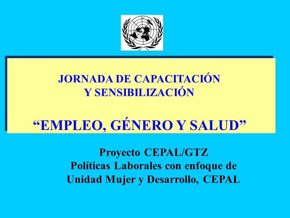 JORNADA DE CAPACITACIÓN Y SENSIBILIZACIÓN EMPLEO, GÉNERO Y SALUD JORNADA DE CAPACITACIÓN Y SENSIBILIZACIÓN EMPLEO, GÉNERO Y SALUD Proyecto CEPAL/GTZ P