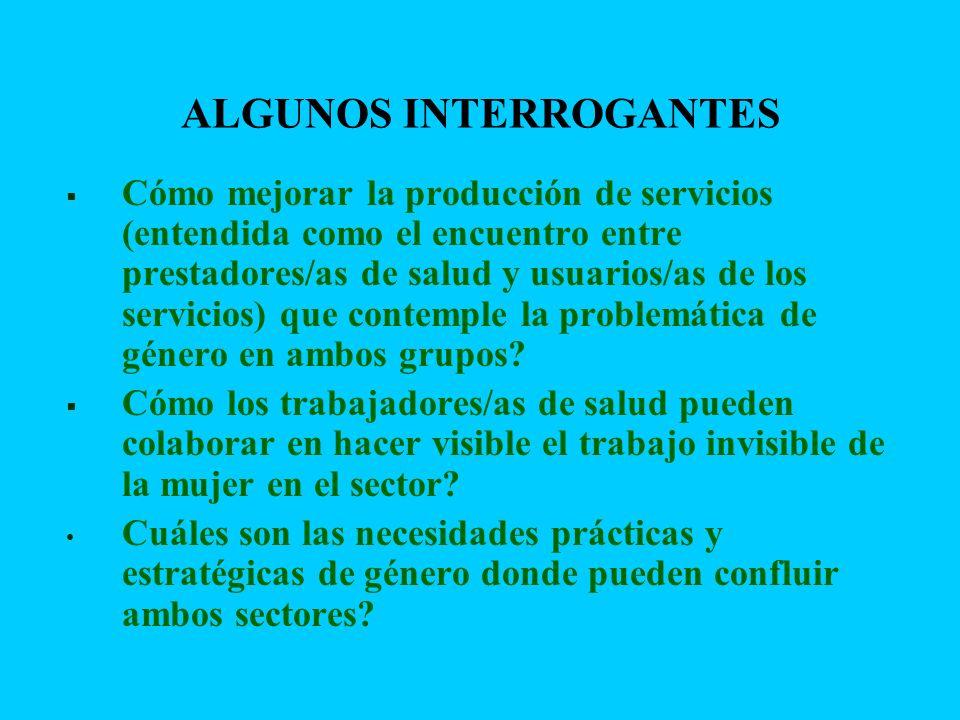 ALGUNOS INTERROGANTES Cómo mejorar la producción de servicios (entendida como el encuentro entre prestadores/as de salud y usuarios/as de los servicio