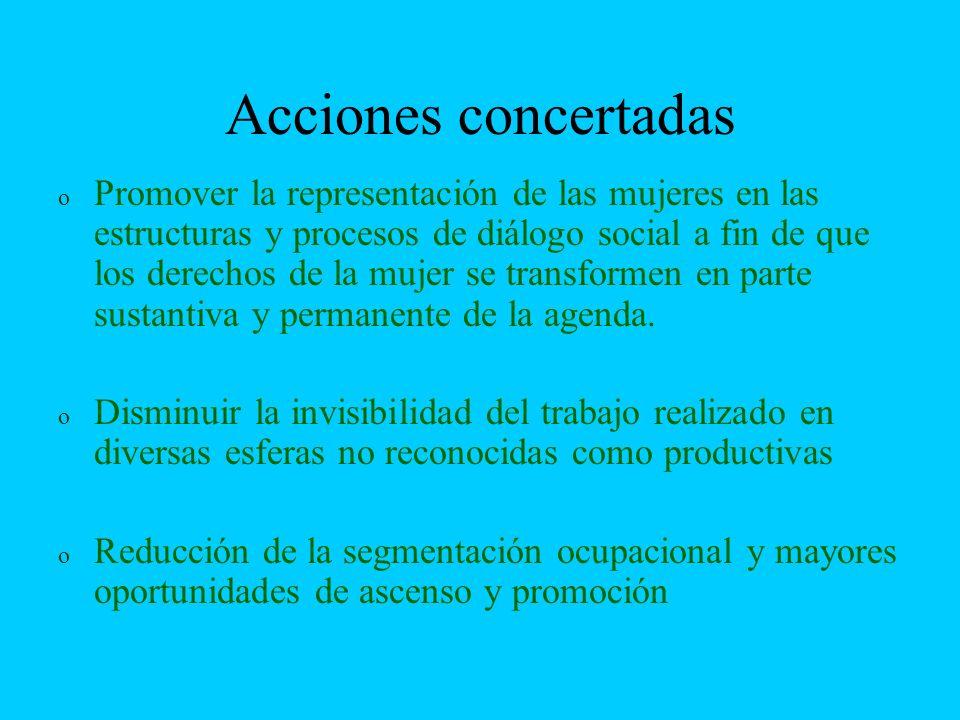 Acciones concertadas o o Promover la representación de las mujeres en las estructuras y procesos de diálogo social a fin de que los derechos de la muj