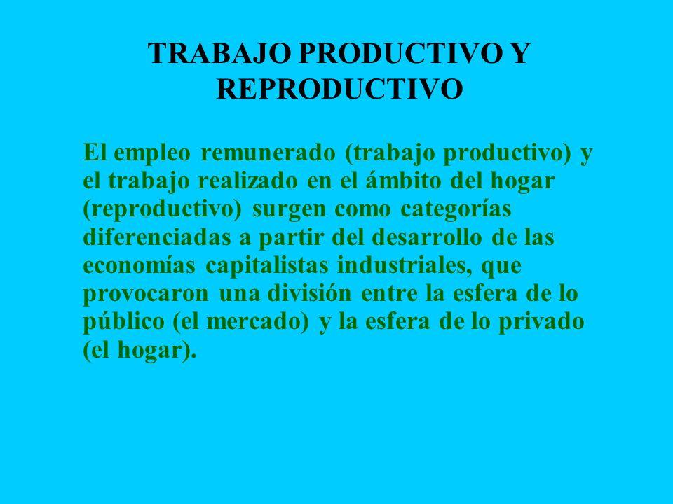 TRABAJO PRODUCTIVO Y REPRODUCTIVO El empleo remunerado (trabajo productivo) y el trabajo realizado en el ámbito del hogar (reproductivo) surgen como c
