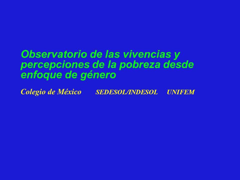 Observatorio de las vivencias y percepciones de la pobreza desde enfoque de género Colegio de México SEDESOL/INDESOL UNIFEM