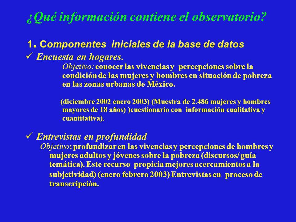 ¿Qué información contiene el observatorio? 1. Componentes iniciales de la base de datos Encuesta en hogares. Objetivo: conocer las vivencias y percepc