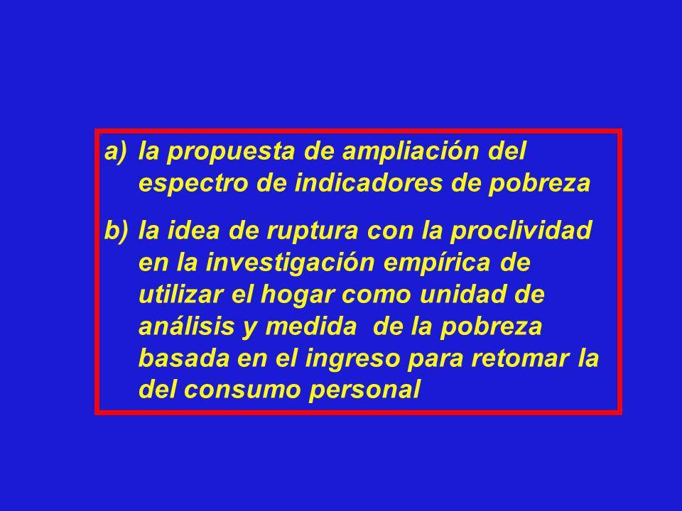 a)la propuesta de ampliación del espectro de indicadores de pobreza b)la idea de ruptura con la proclividad en la investigación empírica de utilizar e