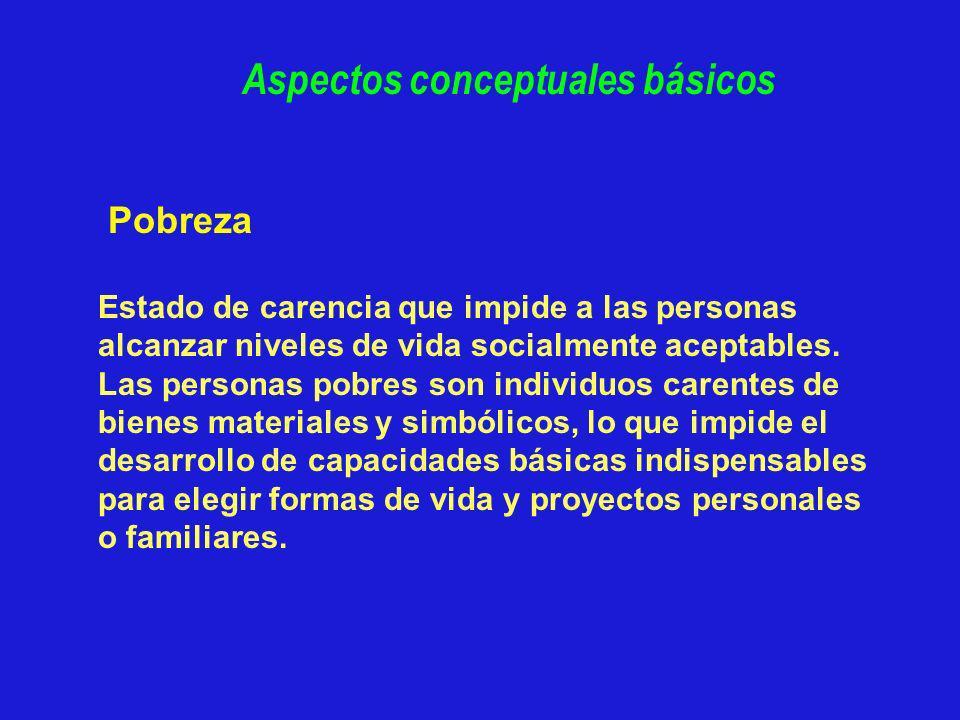 Pobreza Estado de carencia que impide a las personas alcanzar niveles de vida socialmente aceptables. Las personas pobres son individuos carentes de b