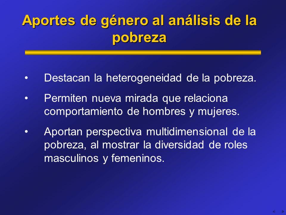 Aportes de género al análisis de la pobreza Destacan la heterogeneidad de la pobreza. Permiten nueva mirada que relaciona comportamiento de hombres y