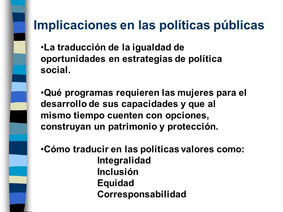 Implicaciones en las políticas públicas La traducción de la igualdad de oportunidades en estrategias de política social. Qué programas requieren las m