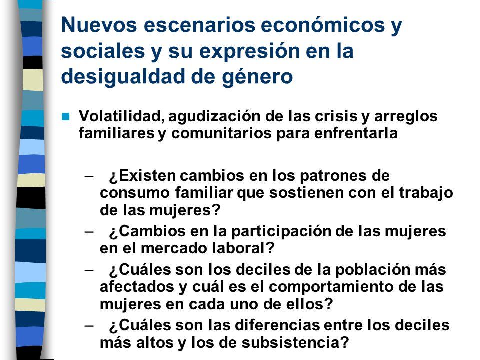 Nuevos escenarios económicos y sociales y su expresión en la desigualdad de género Volatilidad, agudización de las crisis y arreglos familiares y comu