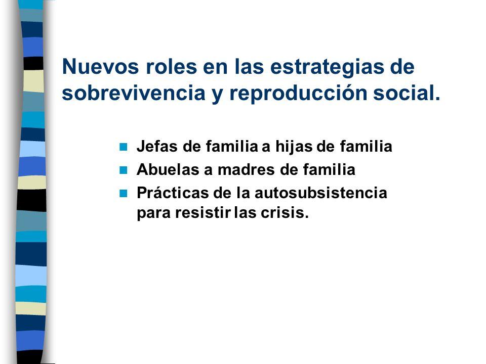 Nuevos roles en las estrategias de sobrevivencia y reproducción social. Jefas de familia a hijas de familia Abuelas a madres de familia Prácticas de l