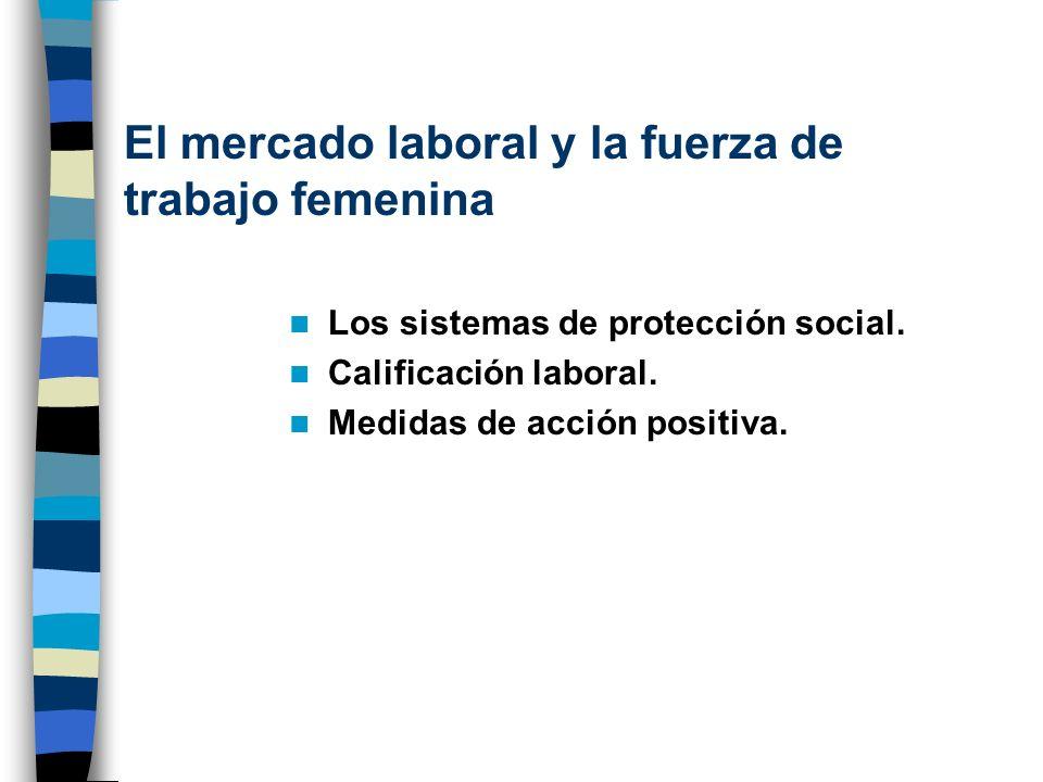 El mercado laboral y la fuerza de trabajo femenina Los sistemas de protección social. Calificación laboral. Medidas de acción positiva.