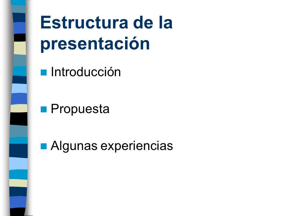Estructura de la presentación Introducción Propuesta Algunas experiencias