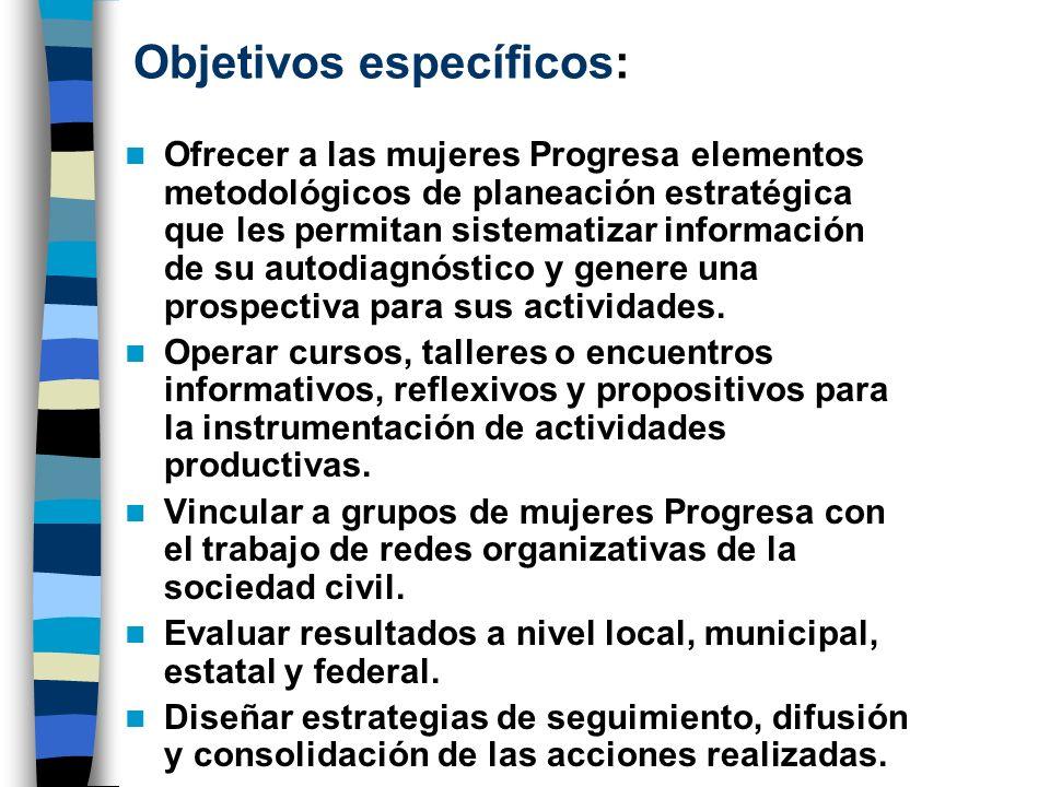 Objetivos específicos: Ofrecer a las mujeres Progresa elementos metodológicos de planeación estratégica que les permitan sistematizar información de s