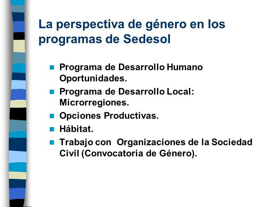 La perspectiva de género en los programas de Sedesol Programa de Desarrollo Humano Oportunidades. Programa de Desarrollo Local: Microrregiones. Opcion
