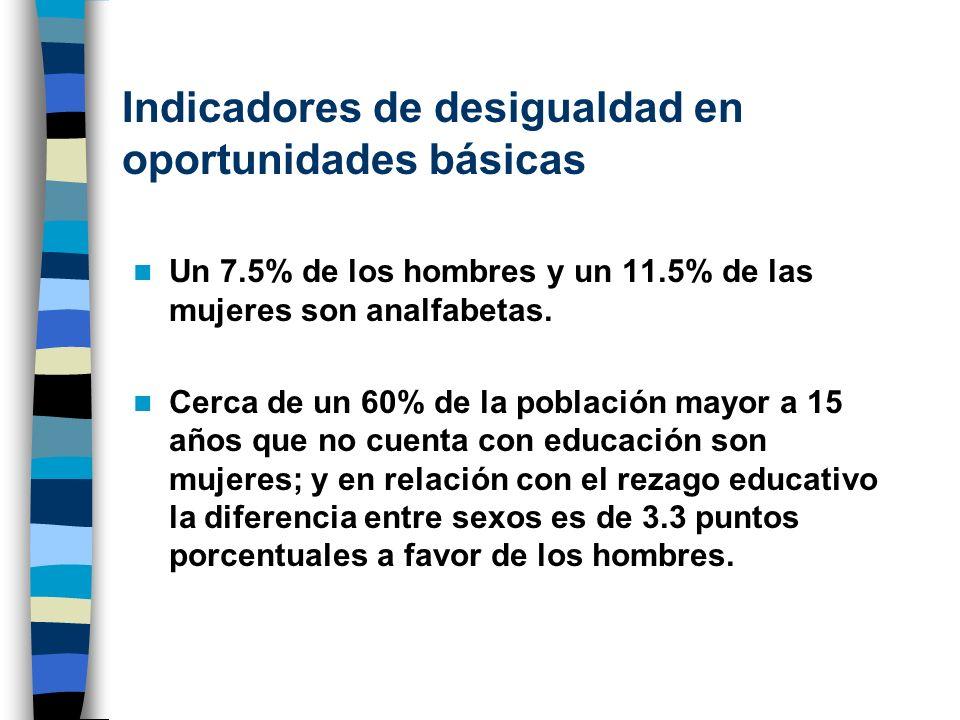 Indicadores de desigualdad en oportunidades básicas Un 7.5% de los hombres y un 11.5% de las mujeres son analfabetas. Cerca de un 60% de la población